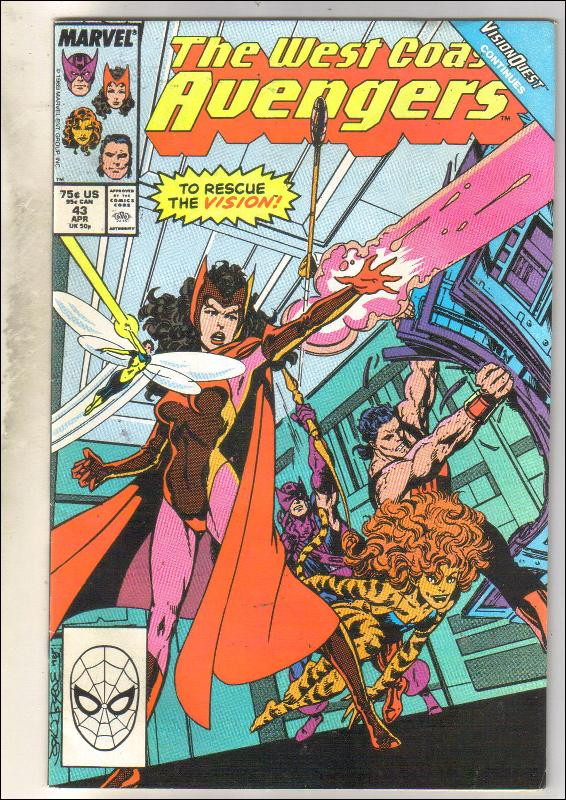 West Coast Avengers #43 comic book near mint 9.4