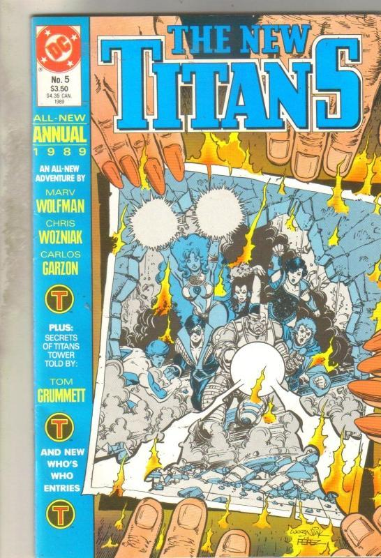 The New Titans Annual #5 comic book  near mint 9.4