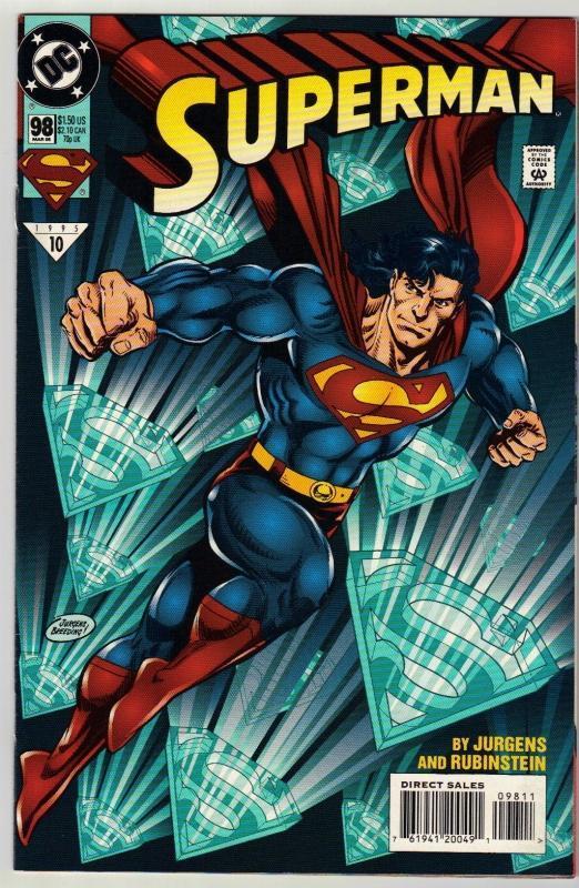 Superman #98 comic book near mint 9.4