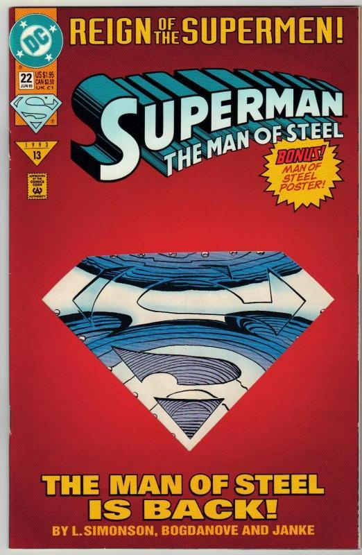 Superman  The Man of Steel #22 comic book near mint 9.4