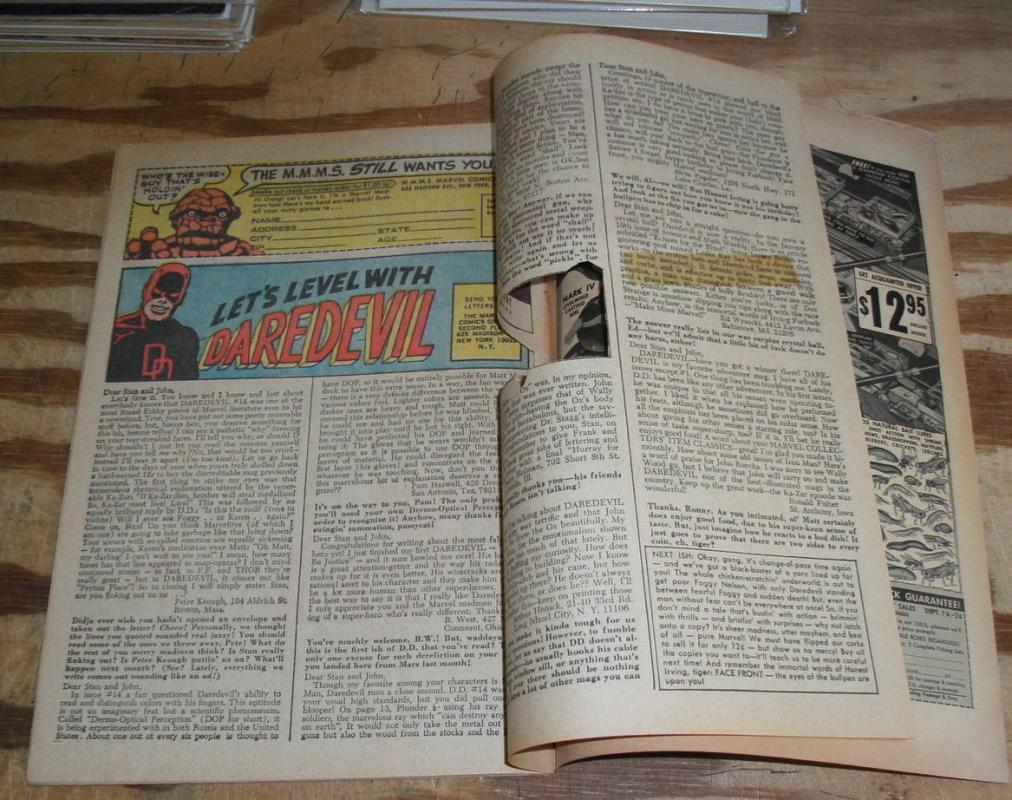Daredevil #18 comic book letter page clipped