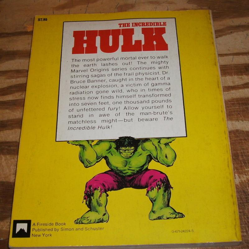 Incredible Hulk first print Fireside book by Stan Lee 1978