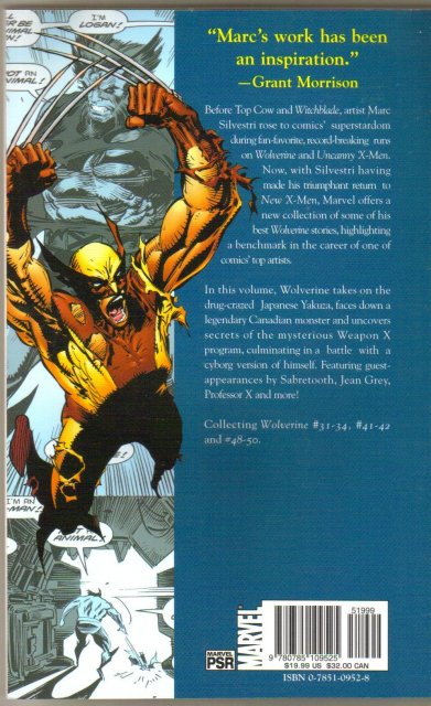 Marvel Legends 6 Wolverine Marc Silvestri trade paperback brand new mint