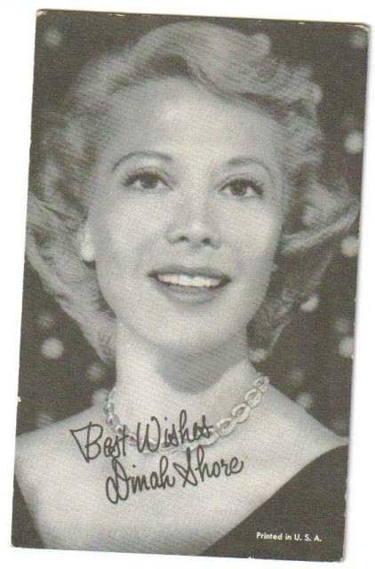 Dinah Shore arcade card