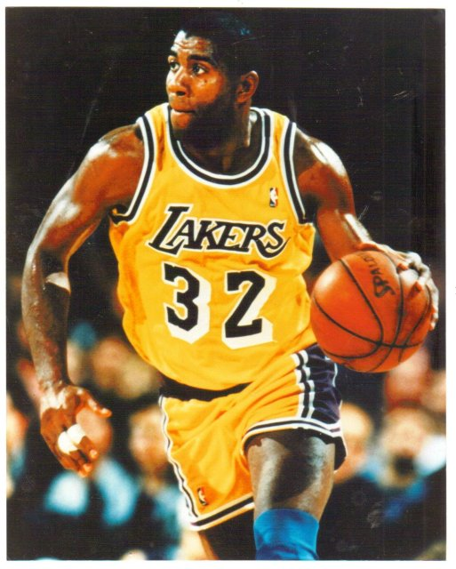Magic Johnson Lakers color glossy photo 8 by 10