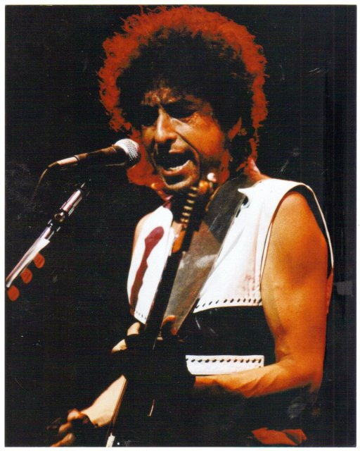 Bob Dylan in concert 70's color 8 by 10 glossy photograph