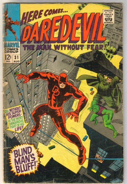 Daredevil #31 comic book letter page clipped