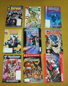 Free Comic Book Day comics. Selection from 9. 2002 and 2003.