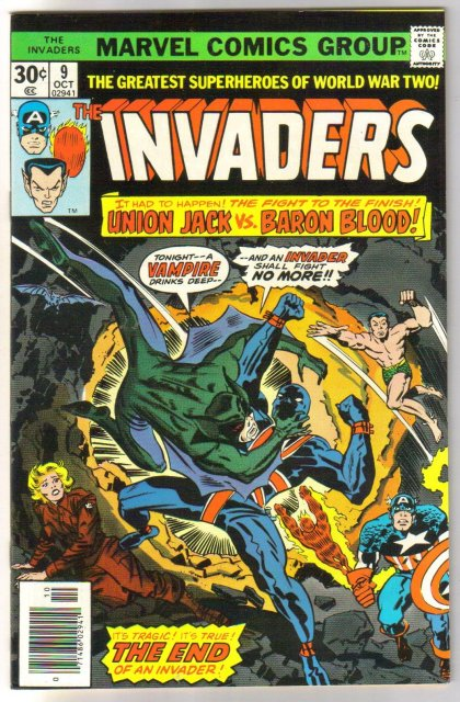 Invaders #9 comic book very fine/near mint 9.0