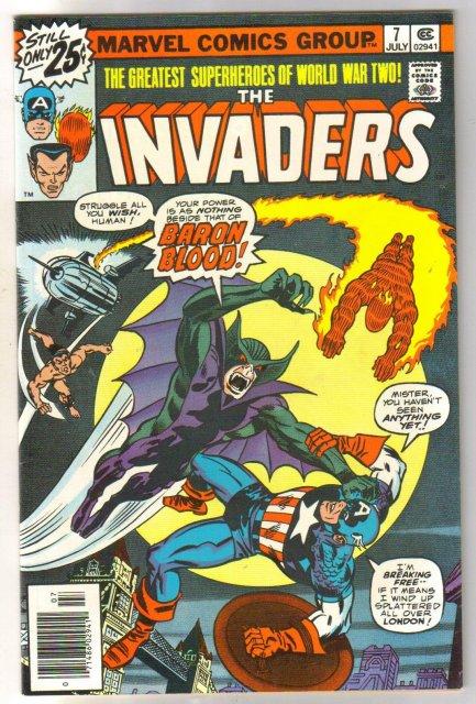 Invaders #7 comic book very fine/near mint 9.0