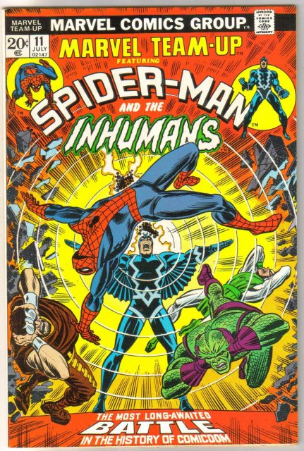 Marvel Team-up #11 featuring Spider-man and the Inhumans comic book very fine 8.0
