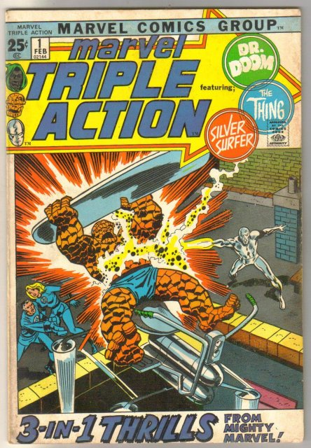 Marvel Triple Action #1 featuring The Thing, Dr. Doom, and the Silver  Surfer comic book fine 6.0