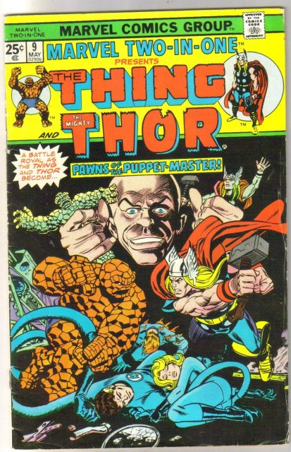 Marvel Two-In-One #9 featuring The Thing and Thor comic book fine 6.0