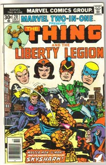 Marvel Two-In-One #20 featuring The Thing and the Liberty Legion comic book very fine/near mint 9.0