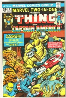 Marvel Two-In-One #4 featuring The Thing and Captain America comic book near mint 9.4