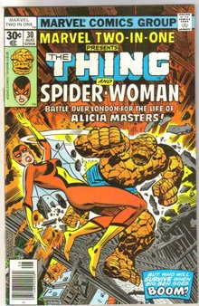 Marvel Two-In-One #30 comic book featuring The Thing and Spider-Woman near mint 9.4