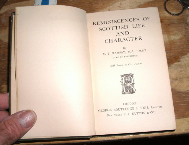 Reminiscences of Scottish Life and Character by E. B. Ramsay hardback