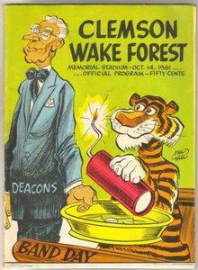 Clemson Vs. Wake Forest 1961 football program