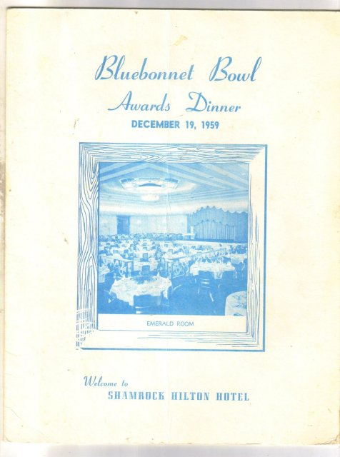 First Bluebonnet Bowl Awards Dinner program December 19, 1959