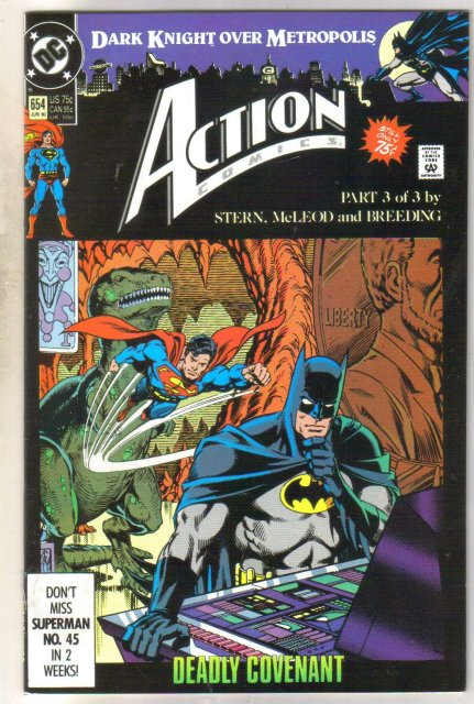Action Comics #654 comic book near mint 9.4