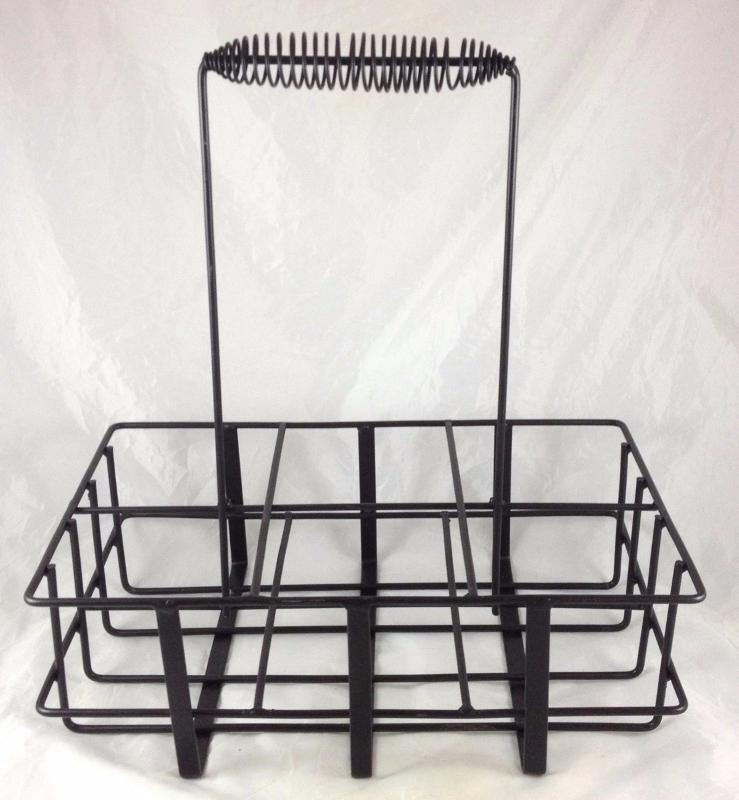 GAS STATION STYLE METAL OIL BOTTLE CARRIER CARRYING RACK WITH HANDLE