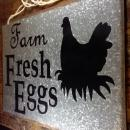 FARM FRESH EGGS BLACK HEN ON NEST LOGO AGED RUSTED ZINC METAL ADVERTISING SIGN