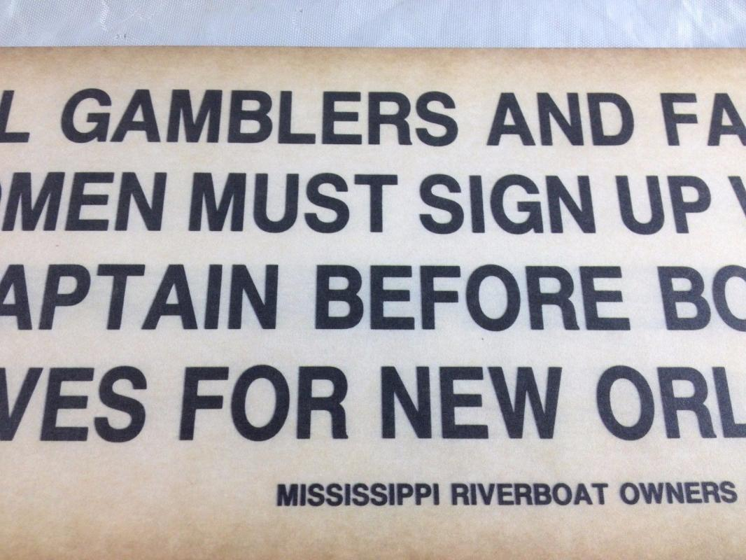GAMBLERS FANCY WOMEN SIGN UP WITH CAPTAIN BEFORE BOAT LEAVES PAPER SIGN