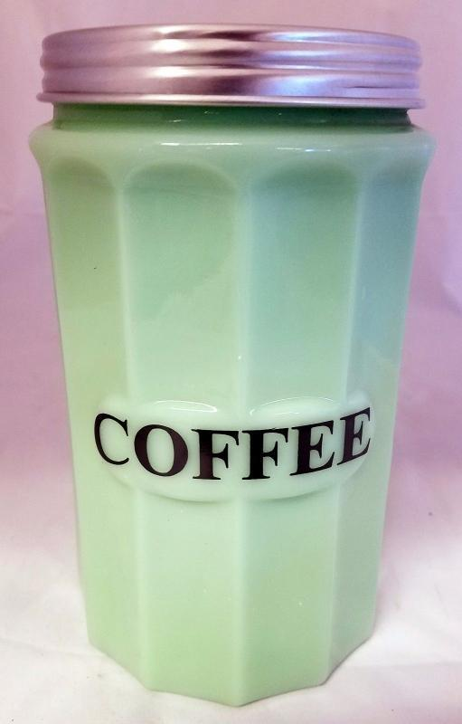 JADITE GREEN GLASS PANEL PATTERN JADEITE COFFEE CANISTER WITH METAL SCREW ON LID