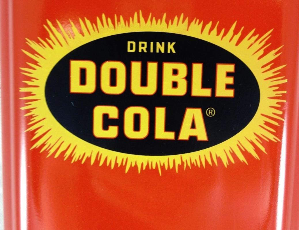 DOUBLE COLA SODA POP STARBURST LOGO RED BLACK YELLOW METAL ADV THERMOMETER