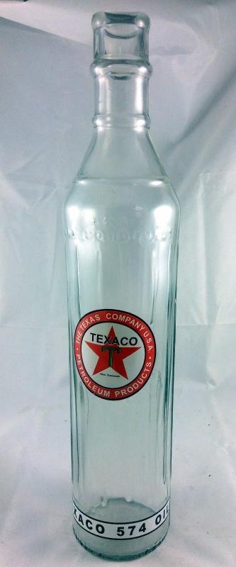 TEXACO RED STAR GREEN T LOGO EXTRA TALL SKINNY 1 QUART GLASS MOTOR OIL BOTTLE