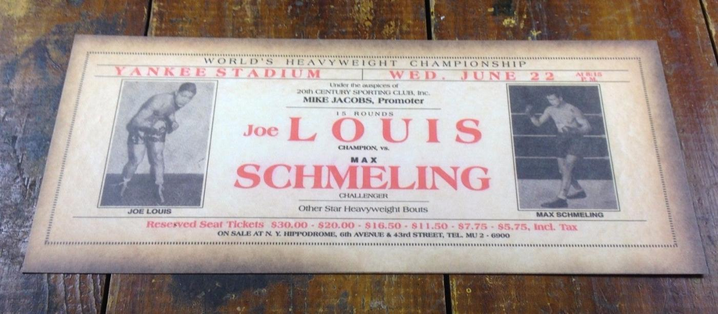 BLACK AMERICANA JOE LOUIS MAX SCHMELING BOXING ADVERTISE PAPER SIGN STREET FLYER
