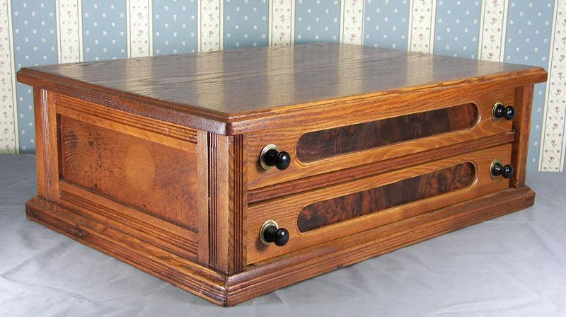 Oak Two Drawer Spool Cabinet