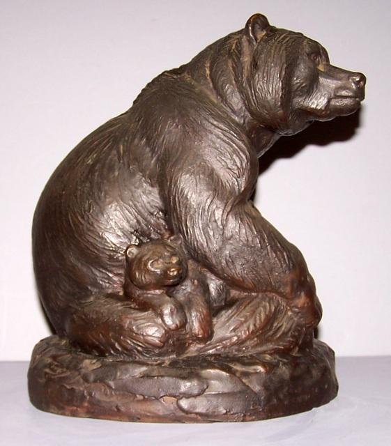 Bronze Bear with Cub Statue