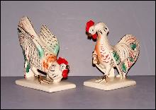 Japanese Fighting Cock Figurines