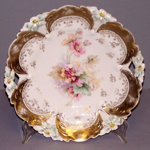 Vintage Cake Plate with Flowers