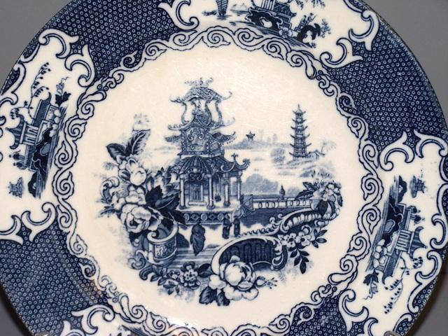 Flow Blue Chinese Plate