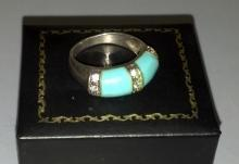 Lovely Silver Ring with Turquoise Stones