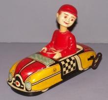 Marx Tin Bobble Head Wind-Up Toy Car