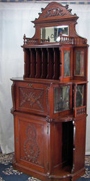 Elaborate Cherry Wood Horner Style Tall Music Cabinet