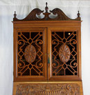 Elaborate Walnut Drop Front Secretary Bookcase