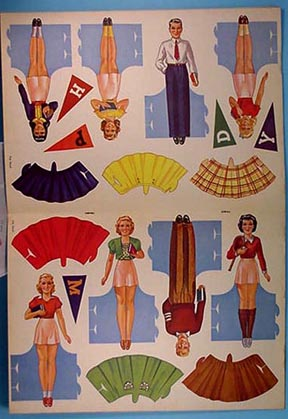 1943 School Days Stand-Up Cut-Out Dolls