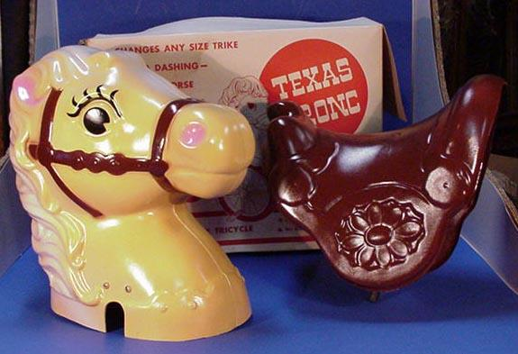 Texas Bronc plastic toy attach to tricycle