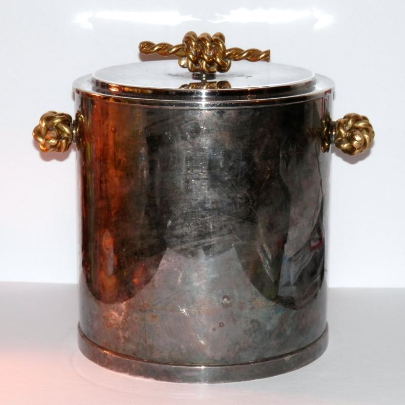 Mid Century Modern Chrome and Brass Ice Bucket by Sopphil Woolff. 8 1/2 inches high.