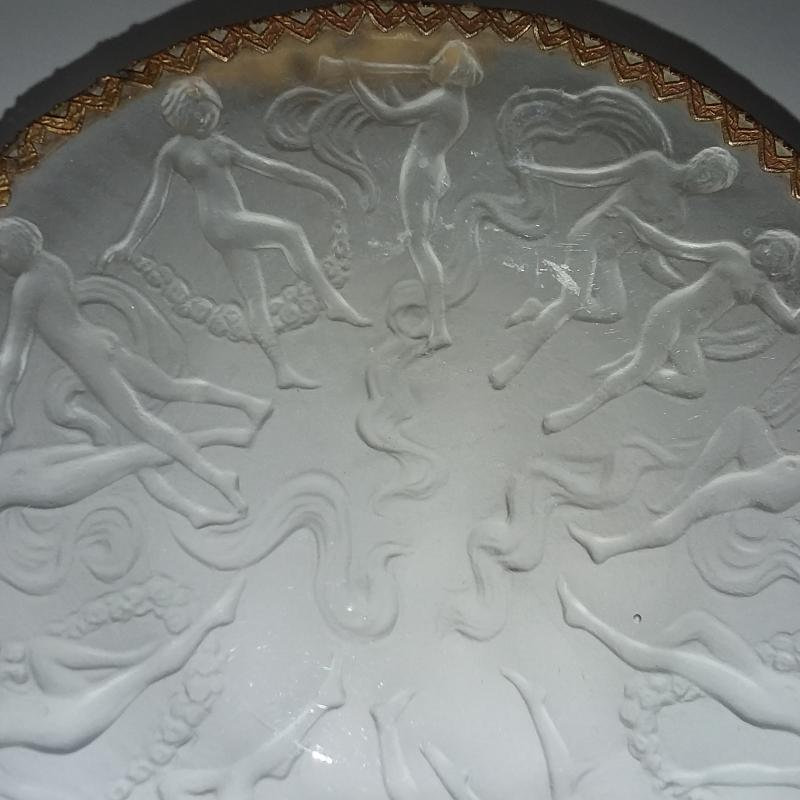 Phoenix/Consolidated Art Deco Glass Dish. Dancing Nymphs/Nudes. Ormolu w/ Porcelain Medallion.
