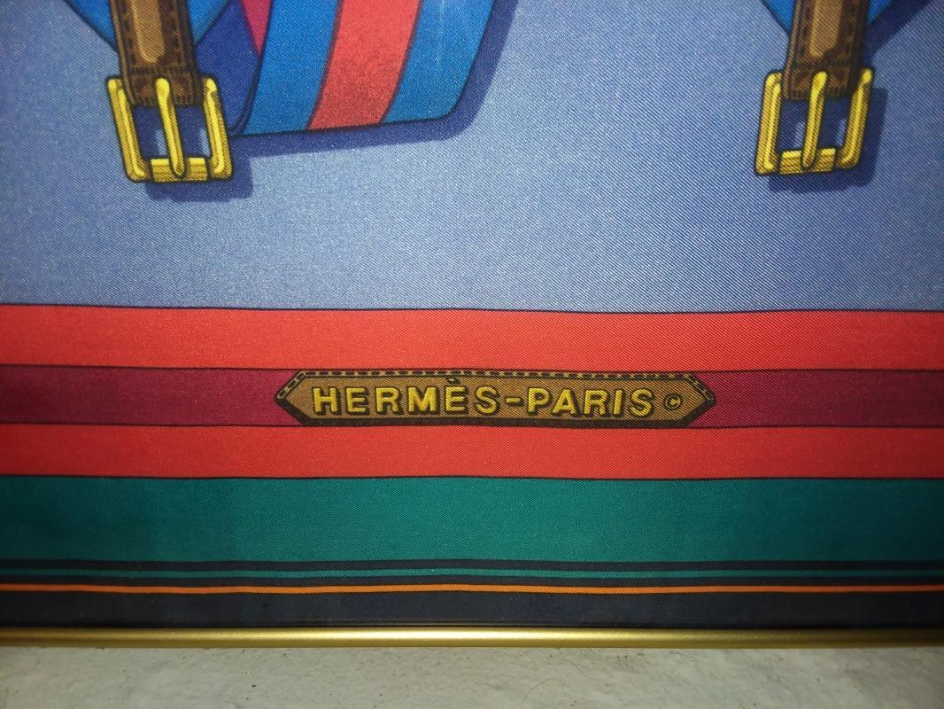 Authentic Hermes Silk Scarf. Equestrian Belts. 34 1/2 inches. Excellent condition!
