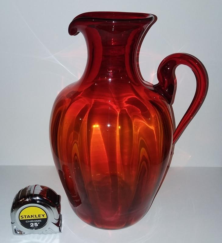 Large Blenko Mid Century Modern Blown Art Glass Pitcher. 13 1/2