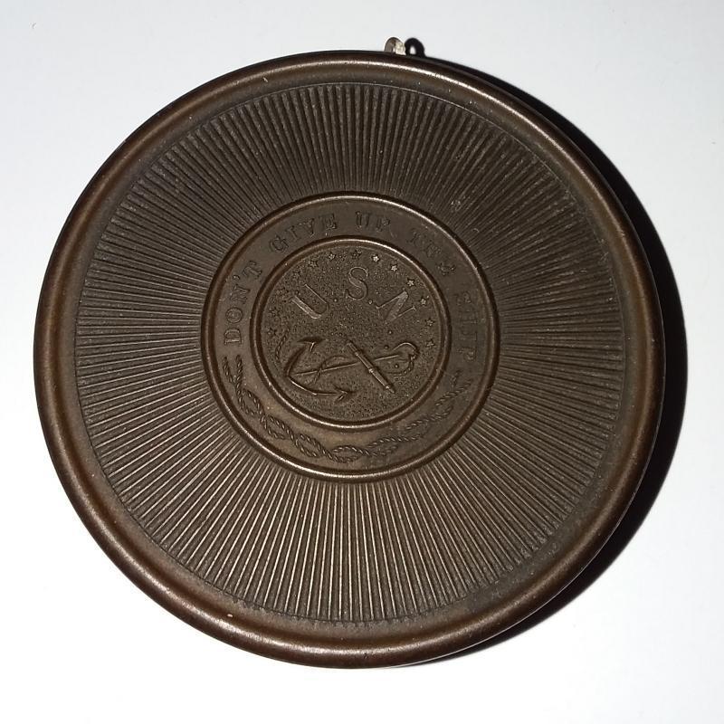 Civil War Era Gutta Percha U.S.N. (Navy) Shaving/Soap Box