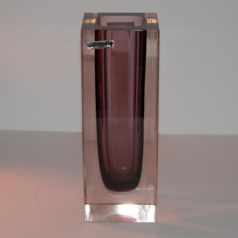 Hadeland Art Glass Vase having an amethyst lined center. 6 3/4 inches high.