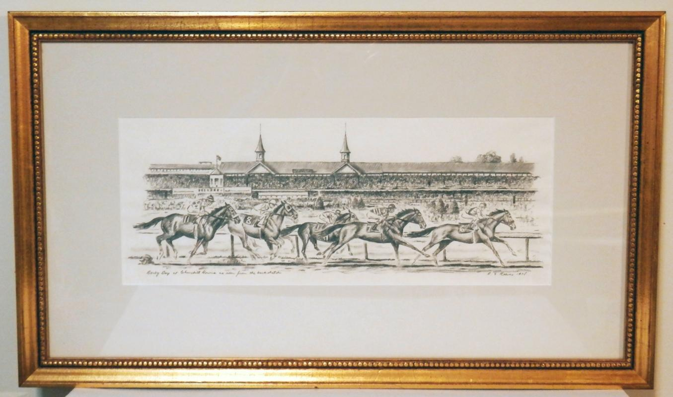 Richard Stone Reeves. Exceptional Kentucky Derby Pencil Drawing.