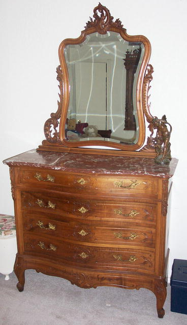 Solid Walnut Louis XV Dresser &Mirror  1880